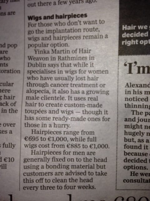 Irish independent men hair replacement options