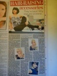 hairweavon wigs featured in female supplement of the irish daily mail newspaper