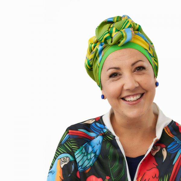 Yellow Plaid Turban with Green Cap | Headwear by Ayelet